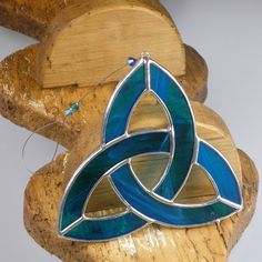 Aqua blue Stained glass Celtic Trinity Knot by RainbowStainedGlass