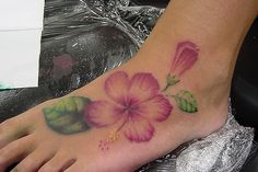 Hibiscus Flower Tattoos | Hibiscus Flowers Tattoos On Foot