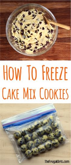 How to Freeze Cake Mix Cookies! ~ tip from TheFrugalGirls.com ~ stock your Freezer with cookie dough, and you'll be set to satisfy those late night cookie cravings!  These also make great gifts for New Moms, etc!