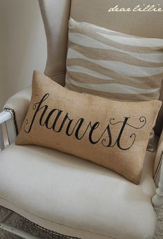 Fall Burlap Pillow