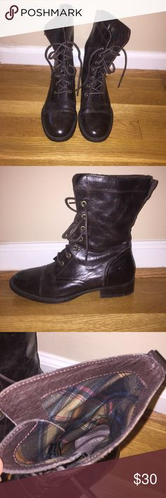 Brown leather Born combat boots Brown leather combat boots, hardly worn, super comfortable, plaid print on inside Born Shoes Combat & Moto Boots