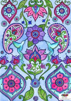 Beautiful Hummingbird Paisley Print by SarahTravisArt on Etsy