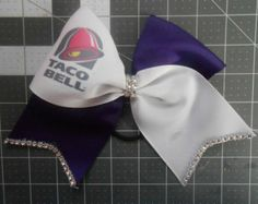 "Taco Bell Cheer Bow with BLING on 3"" PURPLE grosgrain"