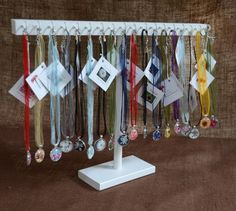 Necklace Jewelry Display with Hooks in white
