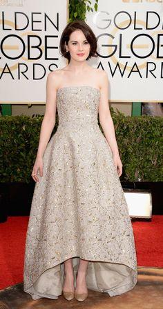 Michelle Dockery - Oscar de la Renta strapless champagne beige gold hi lo gown ... Golden Globes