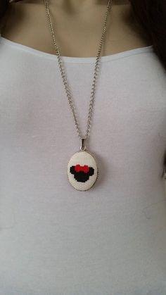 Cross stitch necklace cross stitch jewelry Valentines Day gift embroidery necklace cross stitch pendant textile jewelry gift for girl Tiny Cross Stitch, Cross Stitch Designs, Cross Stitch Embroidery, Cross Stitch Patterns, Embroidery Patterns, Valentines Jewelry, Valentine Day Gifts, Anniversary Jewelry, Crochet Cross