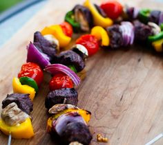 Red Wine and Shallot Marinated Beef and Veggie Skewers
