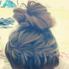 Cute bun and braid(: