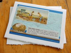 Softshell clams handmade sewn card silver by bluestemhandmade, $5.00