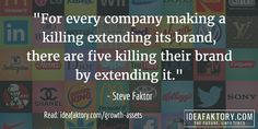 """""""For every company making a killing extending its brand, there are 5 killing their brand by extending it."""" - from 'How to Grow Any Business - Using Deadbeat Assets'"""