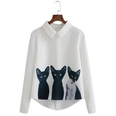 "Long Sleeve ""Three Cats"" White Blouse"
