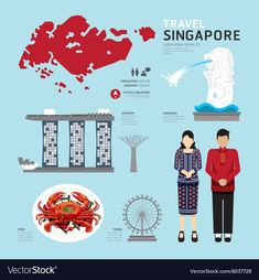 Singapore Flat Icons Design Travel Concept vector image on VectorStock Travel Maps, Travel And Tourism, Free Travel, Flat Design Icons, Icon Design, Flat Icons, Singapore Art, Chicago Map, South Korea Travel
