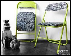 VENDIDAS  - Sillas plegables restauradas #estiloindustrial #animalprint  #reutilizar #diseñodeinteriores
