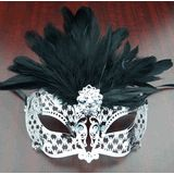 Venetian Lazer Cut Eye Mask With Feathers Black