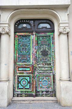 Multicolored painted door. Paris
