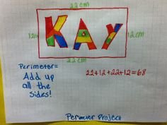 Perimeter activity. Students create a name plate and find the perimeter.