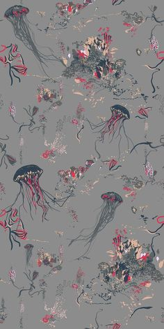 Jellyfish by 17 Patterns - Grey - Wallpaper : Wallpaper Direct