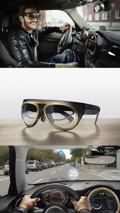 BMW's augmented reality glasses prototype enables motorists to see navigation details, speed and other information overlaid onto a heads-up display.