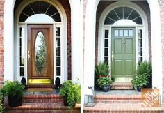Old door makeover curb appeal 45 ideas Green Front Doors, Front Door Entrance, Door Entryway, Front Door Colors, Glass Front Door, Diy Door, Entry Doors, Porch Entry, Entrance Ideas
