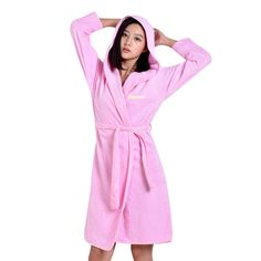 Personalized Luxury Hooded Cotton Robe Embroidered Solid Spa Terry Gifts Robes #MMY #robe