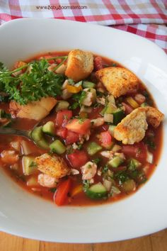 Crab Gazpacho - Sooo Yummy and filled with veggies! | http://www.babyboomster.com