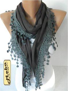 Dark Grey Scarf-Fashion Scarf Cotton Scarf with trim by MebaDesign