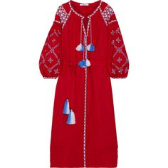 MARCH11 Embroidered linen maxi dress (257.750 HUF) ❤ liked on Polyvore featuring dresses, linen dresses, tassel dress, boho embroidered dress, boho chic dresses and bohemian maxi dress
