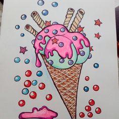 Walka z demonami slabosci rozpoczęta #drawingart #icecream #colors #lovecolor #mypleasure