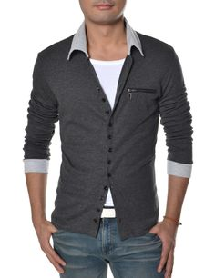 Tattee Boy Clothes | Men's 2 tone collared button cardigan