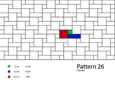Click on each pattern to get percentages needed to complete each pattern as well as tile series suggestions and photo examples. All patterns can be printed from our Pattern Book at this link: Pattern Book.