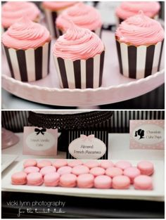 barbie party . i want these black & white stripe cupcake holders! by sondra