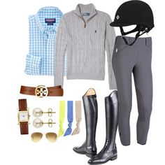 To complete: grey breeches Equestrian Outfits, Equestrian Style, Horseback Riding Outfits, English Clothes, Horse Riding Clothes, Horse Fashion, English Riding, Horse Girl, Outfit Of The Day