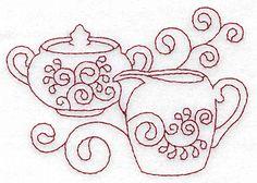 Sugar bowl and creamer redwork 3.89w X 2.75h