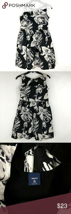 GAP KIDS Spring Summer Black Floral Dress XL 12 GAP KIDS Spring Summer Black White Floral Dress girls size XL 12 (J) Gap kids Dresses
