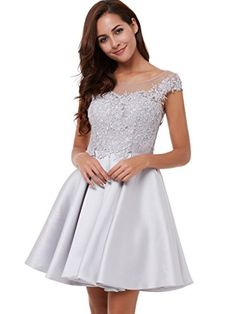 CLOCOLOR Womens Satin Cap Sleeve A Line Lace Applique Short Homecoming  Party Dress Size 12 Silver · Formal Wear ... 74acaed29
