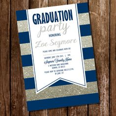 Navy Blue and Silver Graduation Invitation by SunshineParties........Love the silver!
