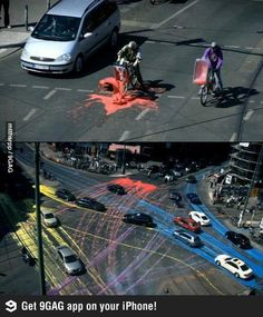 Funny pictures about Awesome street art using biodegradable paint. Oh, and cool pics about Awesome street art using biodegradable paint. Also, Awesome street art using biodegradable paint. 3d Street Art, Amazing Street Art, Street Art Graffiti, Amazing Art, Awesome, Street Artists, Performance Artistique, Senior Pranks, Wow Art