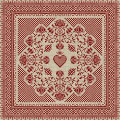 Floral Heart Pillow Cover  Cross Stitch Pattern  PDF by modernfolk, $8.00