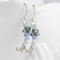 Delicate gemstone earrings; small silver dangles; artisan handmade jewelry; luxury wire wrap; neutral colors; versatile and feminine.