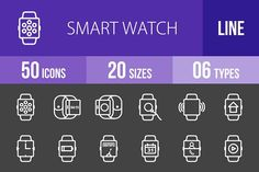 50 Smart Watch Line Inverted Icons by IconBunny on @creativemarket