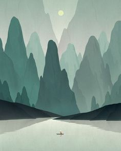 Chinese Landscape an art print by dadu shin is part of Illustration art - Gallery Quality Prints Art And Illustration, Illustrations And Posters, Mountain Illustration, Nature Illustrations, Creative Illustration, Graphic Art, Graphic Design, Design Art, Art Watercolor