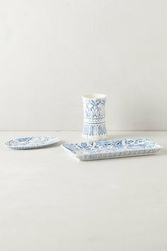 Hacienda Bath Collection #anthropologie I will figure out a way to 'copy' these. I'll use a saucer, plain glass 'tray' and toothbrush holder I have gesso in mind to create 'texture' and sealer (mat) to seal... it should work....