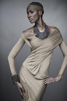 Donna Karan, Urban Zen, Elements II - Cross Drape Top, Drape Skirt, Horn Samurai Necklace, Medium Roundel Bracelet
