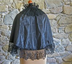 Victorian cape antique French black silk and lace by Histoires