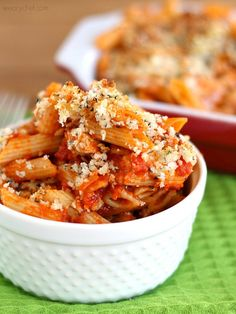 This Chicken Parmesan Casserole gives you the taste of a favorite Italian dish in an easy pasta bake recipe! Baked Pasta Recipes, Chicken Recipes, Cooking Recipes, Healthy Recipes, Chicken Meals, Chef Recipes, Sauce Recipes, Great Recipes, Dinner Recipes