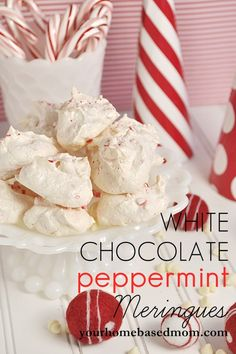 White Chocolate Peppermint Meringues @yourhomebasedmom.com  #cookies,#meringue,#peppermint