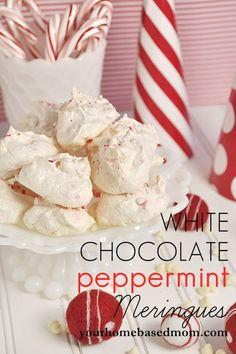 White Chocolate Peppermint Meringues @yourhomebasedmom.com