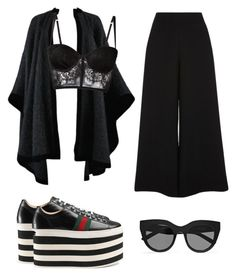 """flowing high fashion"" by emilymalik043 on Polyvore featuring Gucci, Yves Saint Laurent, River Island, I.D. SARRIERI and Le Specs"