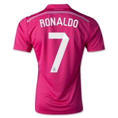 Men's 2014/15 Real Madrid Cristiano Ronaldo 7 Pink Away Soccer Jersey