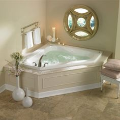 20 Beautiful and Relaxing whirlpool tub designs whirlpool tub in your bathroom is huge advertising points that can dramatically increase the return on your upgrade. Please check out our 20 Beautiful and Relaxing whirlpool tub designs. Jacuzzi Tub Decor, Corner Jacuzzi Tub, Jacuzzi Bathroom, Corner Tub, Bathroom Tubs, Concrete Bathroom, Small Corner, Whirlpool Bathtub, Jetted Bathtub